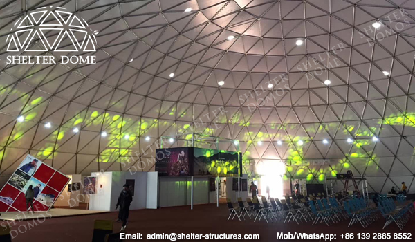 SHELTER Dome Construction - Large Geodome Tent for Exhibition, Reception and Launches - Diameter 50m Dome House with White Cover Membrane -9