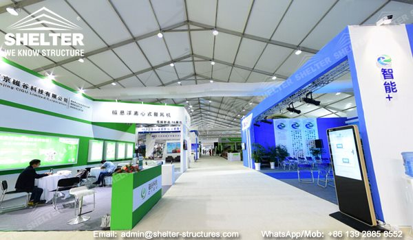 clear span exhibition tent built by Shelter - 10,000sqm expo hall construction